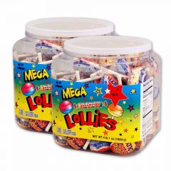 Mega Smarties Lollipops 2-60 ct jars