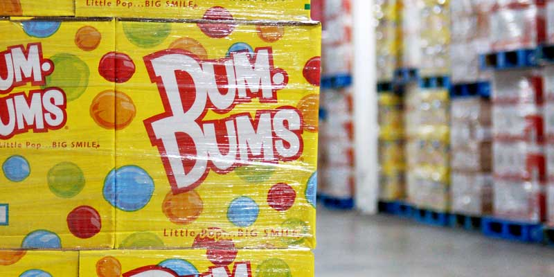 Cases of Dum Dums in the warehouse