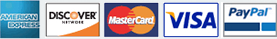 We Accept American Express, Discover, Master Card, Visa, PayPal